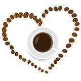 Ένα φλιτζάνι του καφέ μέσα στην καρδιά Στοκ Φωτογραφία