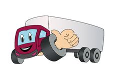 Ένα φορτηγό κινούμενων σχεδίων που παρουσιάζει αντίχειρα. Στοκ Εικόνα