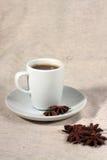 Ένα φλιτζάνι του καφέ και ένα truestar anisetree Στοκ Φωτογραφίες