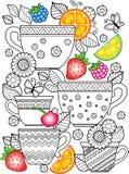 Ένα φλυτζάνι του βοτανικού τσαγιού για μια καλημέρα Χρωματίζοντας βιβλίο για τον ενήλικο Στοκ Εικόνες