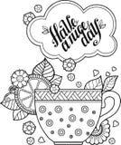 Ένα φλυτζάνι του βοτανικών τσαγιού και του καφέ για μια καλημέρα Χρωματίζοντας βιβλίο για τον ενήλικο Στοκ Εικόνες