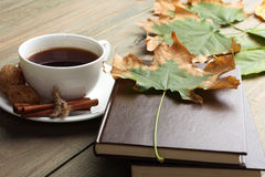 Ένα φλυτζάνι του τσαγιού με ένα βιβλίο Στοκ Εικόνες
