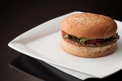 Ένα χάμπουργκερ σε ένα πιάτο Στοκ φωτογραφία με δικαίωμα ελεύθερης χρήσης