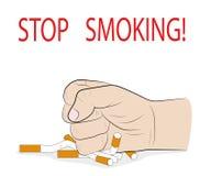 Ένα χέρι ατόμων ` s συντρίβει τα τσιγάρα ΚΑΠΝΙΣΜΑ ΣΤΑΣΕΩΝ! έννοια της απαγόρευσης στο κάπνισμα επίσης corel σύρετε το διάνυσμα απ απεικόνιση αποθεμάτων