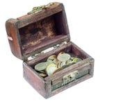 Ένα χέρι - γίνοντα εκλεκτής ποιότητας ξύλινο κιβώτιο για τη συλλογή των νομισμάτων Στοκ εικόνα με δικαίωμα ελεύθερης χρήσης