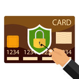 Ένα χέρι με ένα κλειδί ανοίγει μια πιστωτική κάρτα ελεύθερη απεικόνιση δικαιώματος