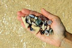 Ένα χέρι με διαφορετικές θαλασσινά κοχύλια και πέτρες στο υπόβαθρο παραλιών θάλασσας το ηλιόλουστο καλοκαίρι ξεπερνά Στοκ Εικόνες