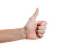 Ένα χέρι που κάνει τον αντίχειρα επάνω στη χειρονομία Ψηφίζοντας χέρι Στοκ Φωτογραφίες