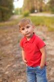 Ένα χαριτωμένο αγόρι σε ένα θερινό πάρκο Στοκ Εικόνες