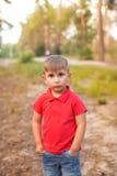 Ένα χαριτωμένο αγόρι σε ένα θερινό πάρκο Στοκ φωτογραφία με δικαίωμα ελεύθερης χρήσης
