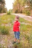 Ένα χαριτωμένο αγόρι σε ένα θερινό πάρκο Στοκ εικόνες με δικαίωμα ελεύθερης χρήσης