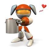 Ένα χαριτωμένο ρομπότ που κρατά ένα μεγάλο δοχείο ελεύθερη απεικόνιση δικαιώματος