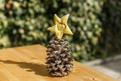 Ένα χαριτωμένο pinecone με ένα αστέρι Χριστουγέννων στην κορυφή Στοκ εικόνα με δικαίωμα ελεύθερης χρήσης