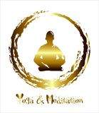 Ένα χρυσό αφηρημένο υπόβαθρο ατόμων meditate, γιόγκα ακτίνα ακτινοβολημένοι Βουδιστική περισυλλογή, ινδή περισυλλογή διάνυσμα διανυσματική απεικόνιση