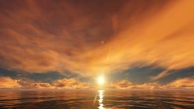 Ένα χρυσό ηλιοβασίλεμα στον ωκεανό ελεύθερη απεικόνιση δικαιώματος