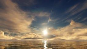 Ένα χρυσό ηλιοβασίλεμα στον ωκεανό διανυσματική απεικόνιση
