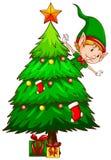 Ένα χρωματισμένο σκίτσο ενός χριστουγεννιάτικου δέντρου Στοκ Φωτογραφίες