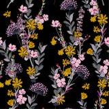 Ένα χτύπημα αέρα και ένα floral άνευ ραφής διάνυσμα σχεδίων λιβαδιών στο σκοτεινό β διανυσματική απεικόνιση
