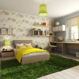 Ένα δωμάτιο των παιδιών με ένα κρεβάτι με τα μαξιλάρια με ένα κάλυμμα ελεύθερη απεικόνιση δικαιώματος