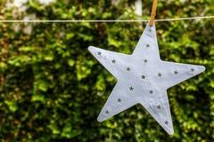 Ένα όμορφο άσπρο αστέρι που κρεμά από ένα σχοινί με ένα πράσινο backgrou Στοκ εικόνα με δικαίωμα ελεύθερης χρήσης