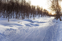 Ένα όμορφο άσπρο τοπίο μιας χιονώδους χειμερινής ημέρας με τις διαδρομές για το όχημα για το χιόνι ή το έλκηθρο σκυλιών Στοκ φωτογραφίες με δικαίωμα ελεύθερης χρήσης