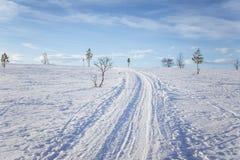 Ένα όμορφο άσπρο τοπίο μιας χιονώδους χειμερινής ημέρας με τις διαδρομές για το όχημα για το χιόνι ή το έλκηθρο σκυλιών Στοκ φωτογραφία με δικαίωμα ελεύθερης χρήσης