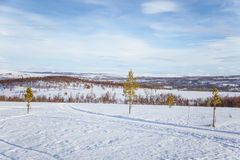 Ένα όμορφο άσπρο τοπίο μιας χιονώδους χειμερινής ημέρας με τις διαδρομές για το όχημα για το χιόνι ή το έλκηθρο σκυλιών Στοκ Εικόνα