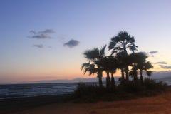 Ένα όμορφο ηλιοβασίλεμα στην ακτή Torrox στη πλευρά, Ισπανία Στοκ εικόνες με δικαίωμα ελεύθερης χρήσης