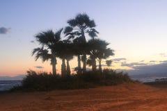 Ένα όμορφο ηλιοβασίλεμα στην ακτή Torrox στη πλευρά, Ισπανία Στοκ εικόνα με δικαίωμα ελεύθερης χρήσης