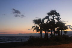 Ένα όμορφο ηλιοβασίλεμα στην ακτή Torrox στη πλευρά, Ισπανία Στοκ φωτογραφία με δικαίωμα ελεύθερης χρήσης