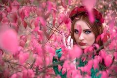 Ένα όμορφο και μυθικό κορίτσι σε ένα ρόδινο φύλλωμα με το κόκκινο στεφάνι Στοκ Φωτογραφία