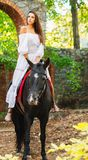 Ένα όμορφο κορίτσι που οδηγά ένα άλογο κοιτάζει μακριά Στο πάρκο Πλάγια όψη στοκ φωτογραφία με δικαίωμα ελεύθερης χρήσης