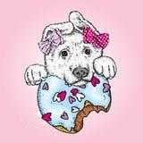 Ένα όμορφο κουτάβι και ζωηρόχρωμο doughnut επίσης corel σύρετε το διάνυσμα απεικόνισης Ένα γενεαλογικό σκυλί και ένα γλυκό επιδόρ Στοκ φωτογραφία με δικαίωμα ελεύθερης χρήσης