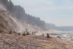 Ένα όμορφο τοπίο παραλιών σε μια θυελλώδη ημέρα, φυσώντας άμμος αέρα μέχρι τους υψηλούς αμμώδεις απότομους βράχους Τοπίο άνοιξη σ Στοκ Εικόνες