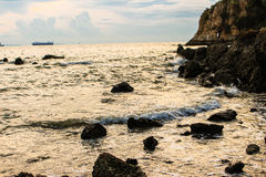 Ένα όμορφο ψηφιακό τοπίο χειρισμού της παραλίας ηλιοβασιλέματος Selecti Στοκ Εικόνες