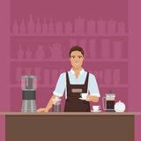 Ένα barista νεαρών άνδρων χαμόγελου που προετοιμάζει τον καφέ με το διάνυσμα καφές-μηχανών στο εστιατόριο καφέδων ελεύθερη απεικόνιση δικαιώματος