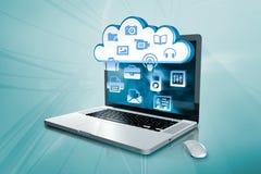 Ένα lap-top με τη βάση δεδομένων σύννεφων Στοκ Φωτογραφίες