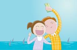 Ένα selfie-ζεύγος των εραστών που παίρνουν τη φωτογραφία τους Στοκ Φωτογραφία