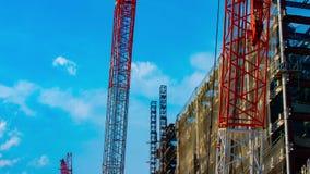 Ένα timelapse των γερανών στην κατώτερη κατασκευή στο Τόκιο απόθεμα βίντεο