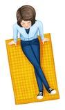 Ένα topview ενός κοριτσιού επάνω από το χαλί διανυσματική απεικόνιση