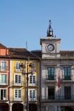 'Ένδειξη ώρασ' Δημαρχείων στο δήμαρχο Plaza του Burgos, Ισπανία Στοκ φωτογραφίες με δικαίωμα ελεύθερης χρήσης