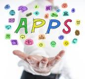 Έννοιας Apps επάνω από ένα χέρι Στοκ φωτογραφίες με δικαίωμα ελεύθερης χρήσης