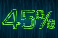 Έννοια έκπτωσης, φωτεινή επιγραφή 45 τοις εκατό, τρισδιάστατη απόδοση Στοκ εικόνες με δικαίωμα ελεύθερης χρήσης