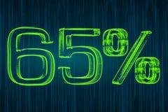 Έννοια έκπτωσης, φωτεινή επιγραφή 65 τοις εκατό, τρισδιάστατη απόδοση Στοκ φωτογραφία με δικαίωμα ελεύθερης χρήσης