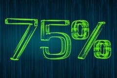 Έννοια έκπτωσης, φωτεινή επιγραφή 75 τοις εκατό, τρισδιάστατη απόδοση Στοκ εικόνα με δικαίωμα ελεύθερης χρήσης