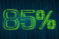 Έννοια έκπτωσης, φωτεινή επιγραφή 85 τοις εκατό, τρισδιάστατη απόδοση Στοκ Φωτογραφίες