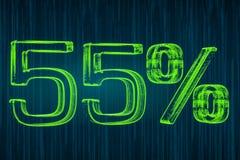 Έννοια έκπτωσης, φωτεινή επιγραφή 55 τοις εκατό, τρισδιάστατη απόδοση Στοκ Φωτογραφίες