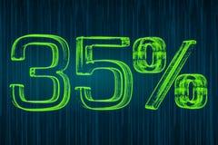 Έννοια έκπτωσης, φωτεινή επιγραφή 35 τοις εκατό, τρισδιάστατη απόδοση Στοκ φωτογραφία με δικαίωμα ελεύθερης χρήσης