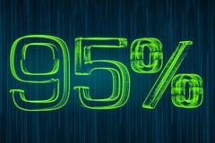 Έννοια έκπτωσης, φωτεινή επιγραφή 95 τοις εκατό, τρισδιάστατη απόδοση Στοκ φωτογραφία με δικαίωμα ελεύθερης χρήσης