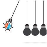 Έννοια λίκνων Newton στο υπόβαθρο, δημιουργική ιδέα γ λαμπών φωτός Στοκ Εικόνα